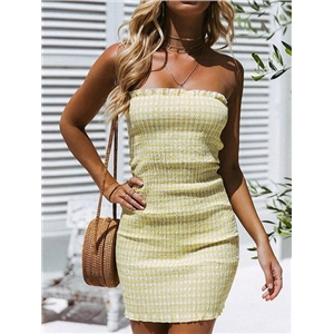 Plaid Bandeau Frill Trim Ruched Detail Bodycon Mini Dress