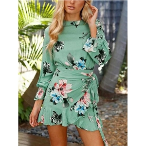 Green Floral Print Tie Waist Open Back Long Sleeve Mini Dress