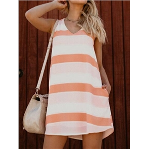 Brown Stripe V-neck Pocket Detail Mini Dress