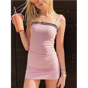 Pink Ribbed Shoulder Strap Bodycon Mini Dress