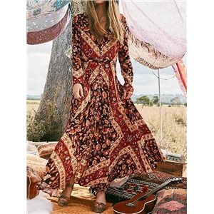 Brown V-neck Floral Print Button Placket Front Maxi Dress