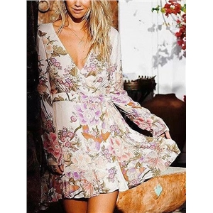 Pink V-neck Floral Print Tie Waist Long Sleeve Mini Dress