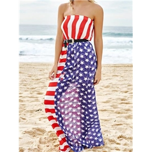 Blue Bandeau American Flag Print Ruched Detail Maxi Dress