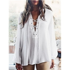 White V-neck Eyelet Lace Up Front Long Sleeve Blouse