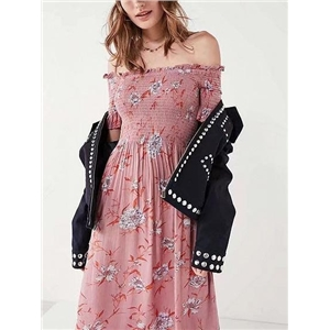 Pink Chiffon Off Shoulder Floral Print Ruched Chic Women Midi Dress