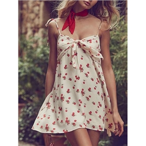 White Spaghetti Strap Cherry Print Backless Chic Women Mini Dress