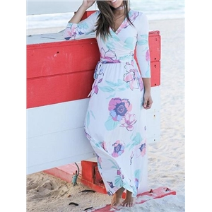V-neck Floral Print Tie Waist Maxi Dress
