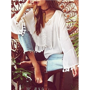 White V-neck Button Placket Front Long Sleeve Chic Women Blouse