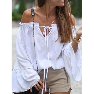 White Cotton Off Shoulder Frill Trim Flared Sleeve Chic Women Blouse