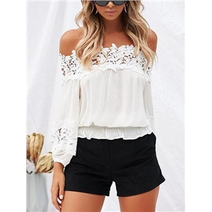 White Chiffon Off Shoulder Lace Panel Long sleeve Chic Women Blouse