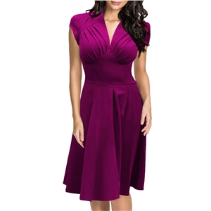 V Neck Cap Sleeve Party Dress