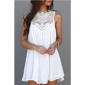 Fashion Lace Hollow Splicing Pinafore Mini Dress