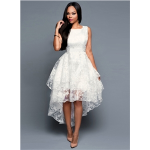 Womens Elegant Sleeveless Organza High Low Cocktail Dress