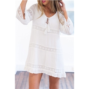 Elegant White Crochet Paneled Mini Shift Dress