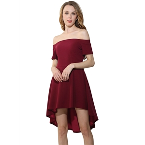 Womens off Shoulder High Low Party Dress
