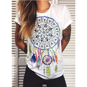 Fashion Loose Fit Dreamcatcher Printed Short Sleeve Tee