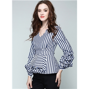 V Neck Long Puff Sleeve Striped Blouse
