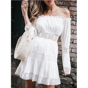 White Cotton Off Shoulder Flare Sleeve Chic Women Mini Dress