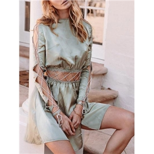 Green Satin Look Lace Up Detail Long Sleeve Chic Women Mini Dress