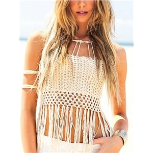 White Cotton Cut Out Detail Tassel Trim Sleeveless Chic Women Crop Top