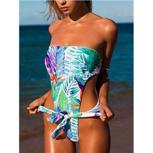 Multicolor Nylon Bandeau Leaf Print Open Back Chic Women Swimsuit