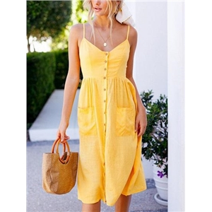 Yellow Cotton Blend Button Placket Front Chic Women Cami Midi Dress