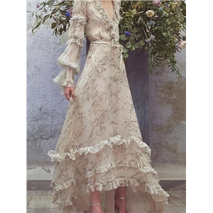 Beige Chiffon V-neck Floral Print Long Sleeve Chic Women Maxi Dress