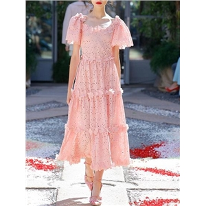 Pink 3D Flower Embellished Short Sleeve Chic Women Lace Midi Dress