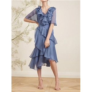 Blue Chiffon V-neck Ruffle Trim Asymmetric Hem Chic Women Midi Dress