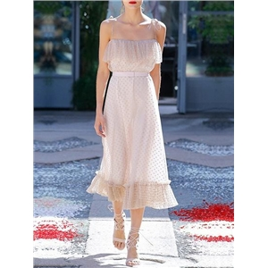 Beige Polka Dot Ruffle Trim Chic Women Sheer Mesh Cami Midi Dress