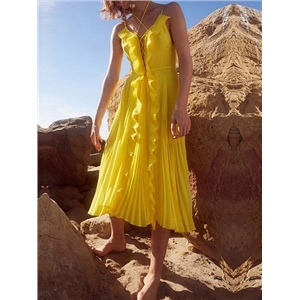 Yellow V-neck Lace Up Front Ruffle Trim Chic Women Cami Midi Dress