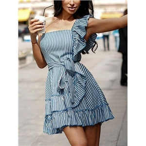 Light Blue Stripe Cotton Bandeau Tie Waist Chic Women Mini Dress