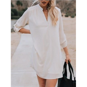 White Chiffon V-neck Long Sleeve Chic Women Mini Dress