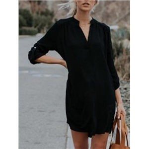 Black Chiffon V-neck Long Sleeve Chic Women Mini Dress