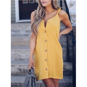 Yellow Cotton Button Placket Front Chic Women Cami Mini Dress