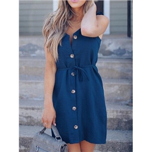 Dark Blue Cotton Button Placket Front Chic Women Cami Mini Dress