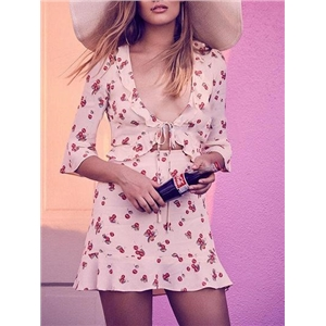 White Cotton Plunge Cherry Print Ruffle Trim Chic Women Mini Dress