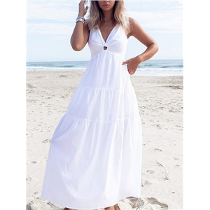 White V-neck Knot Front Open Back Sleeveless Chic Women Maxi Dress