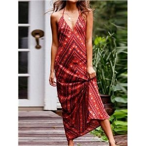Red Halter V-neck Folk Print Open Back Chic Women Maxi Dress