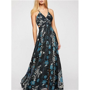 Black Chiffon V-neck Floral Print Open Back Chic Women Cami Maxi Dress
