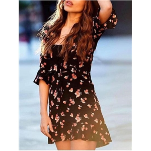 Black Cotton Plunge Cherry Print Ruffle Trim Chic Women Mini Dress