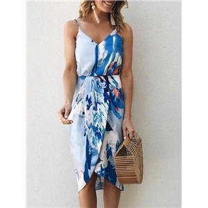 Blue Cotton Blend V-neck Painting Print Chic Women Cami Dress