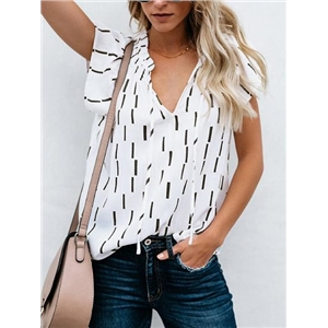 Black V-neck Stripe Print Chic Women Blouse