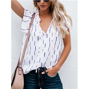 Blue V-neck Stripe Print Chic Women Blouse