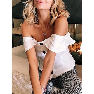White Cotton Off Shoulder Ruffle Trim Open Back Chic Women Tank Top