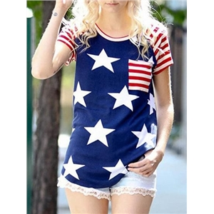 Blue Cotton Crew Neck Star Print Stripe Panel Casual Women T-shirt