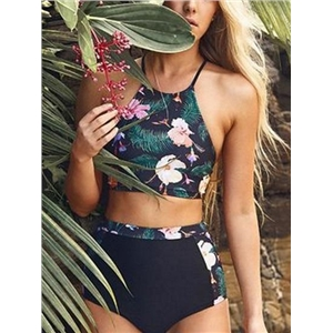 Black Nylon Floral Print Chic Women Bikini Top And High Waist Bottom
