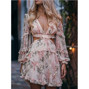 Pink Chiffon V-neck Floral Print Lace Up Back Chic Women Mini Dress