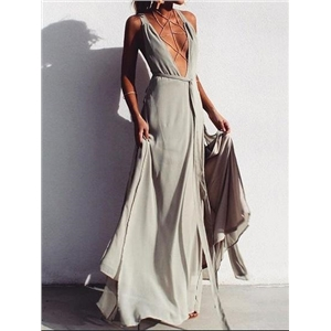 Gray Plunge Lace Up Front Thigh Split Side Chic Women Cami Maxi Dress