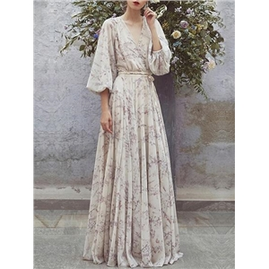 Beige Chiffon V-neck Floral Print Puff Sleeve Chic Women Maxi Dress